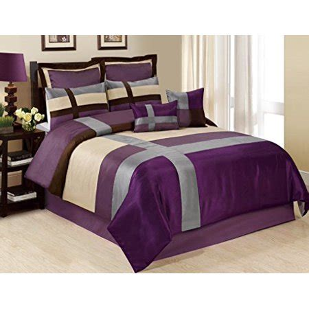 bedding sets clearance queen unique home 8 dorsey purple beige grey satin