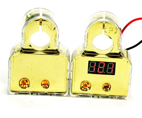 24k Led Digital Gold Plated Battery Cable Terminals Audio