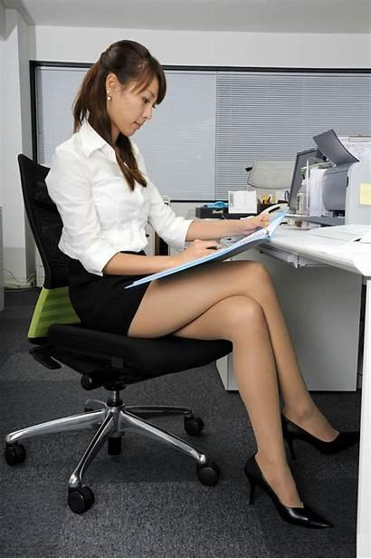 Office Legs Lady Stockings Pantyhose Cross Sitting