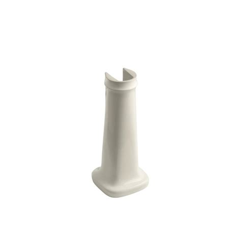 home depot kohler bancroft pedestal sink kohler bancroft vitreous china pedestal in almond k 2346