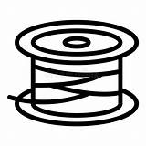 Spool Wire Reel Outline Icon Isolated Illustrations Vectors sketch template