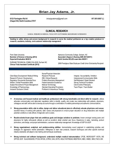 Clinical Trials Associate Resume by August Research Resume