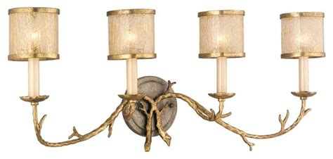 four light gold and silver leaf vanity rustic bathroom