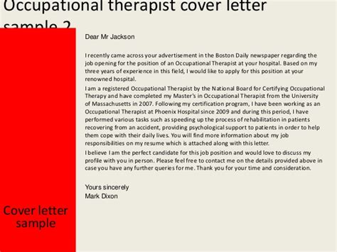 Occupational Therapy Assistant Resume Cover Letter by Occupational Therapist Cover Letter