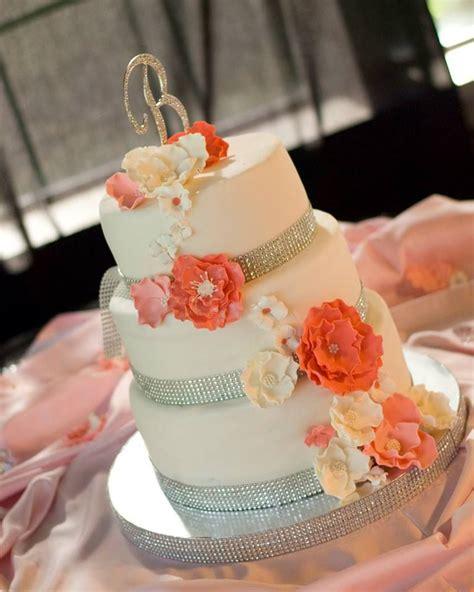 Coral Gray Silver Wedding Cake Wedding Cake Pinterest