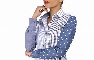 chemisier femme patchwork marine et blanc rayures et With chemise carreaux noir et blanc