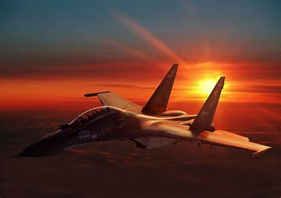 Sunset Fighter Aircraft Russian Sukhoi Military Su