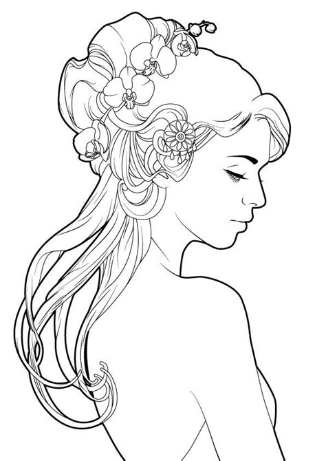 A simple line art inspired from mucha. Here is the colored