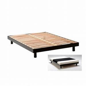 Cadre Lit 140x190 : texas cadre de lit noir 140x190 achat vente ~ Dallasstarsshop.com Idées de Décoration
