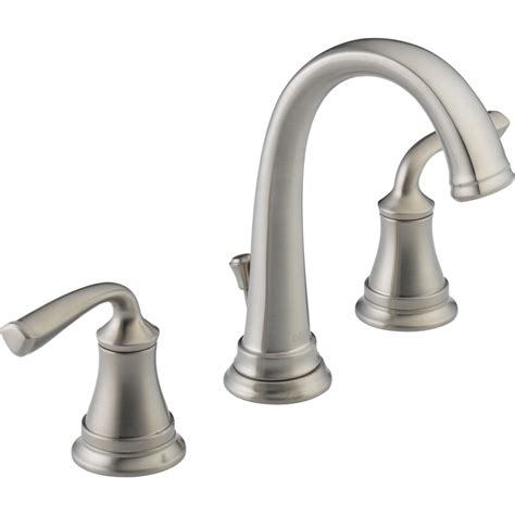 faucet for sink in bathroom shop delta lorain stainless 2 handle widespread watersense