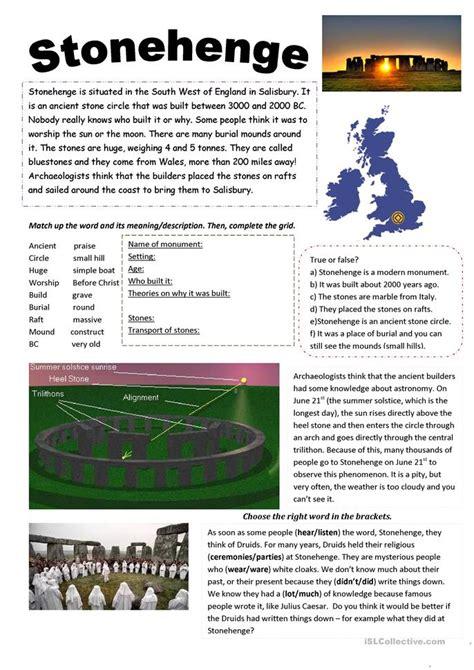 stonehenge worksheet  esl printable worksheets