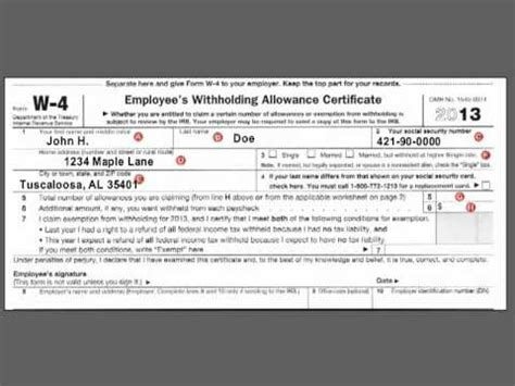 how to complete the federal w 4 income tax withholding form youtube