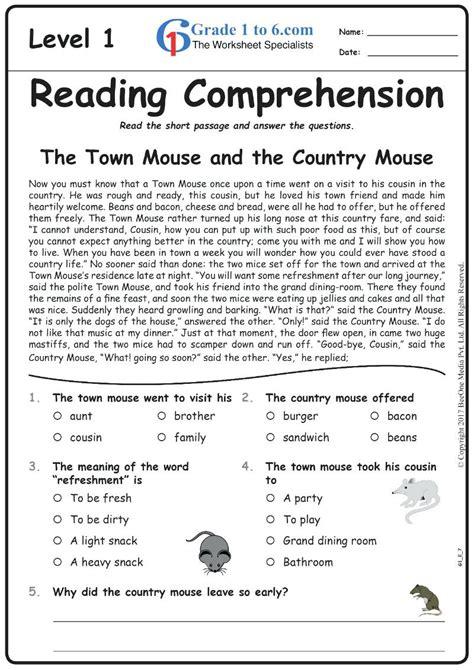 grade reading comprehension worksheets   print