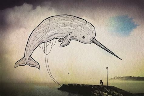 dreamy illustrations   oceans creatures flying