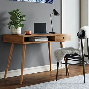 Nathan, James, Parker, Modern, Home, Office, Desk, In, Walnut, Wood, Small, Writing, Computer, And, Laptop