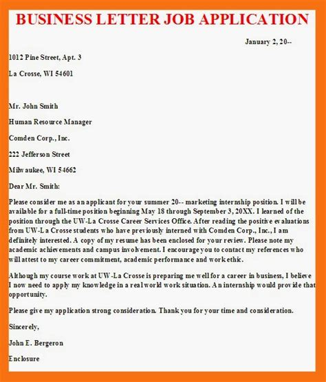 business letter business letter job application