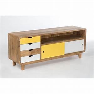 meuble tv inspiration scandinave 4 tiroirs 2 portes With meuble tele