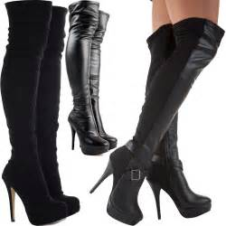 womens boots knee high leather womens black knee thigh high heel stretch suede leather boots shoes ebay
