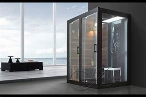 douche balneo sauna hammam 39black loxia modele grand With sauna exterieur avec douche