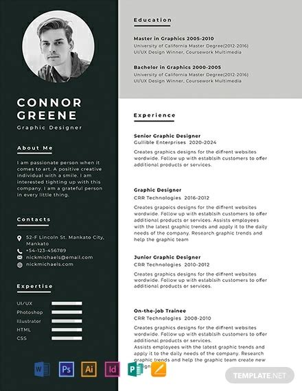 experience resume template word  psd