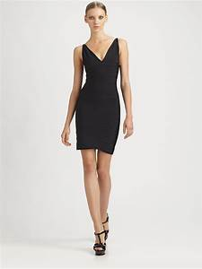 herve leger v neck bandage dress in black lyst With herve leger robe bandage