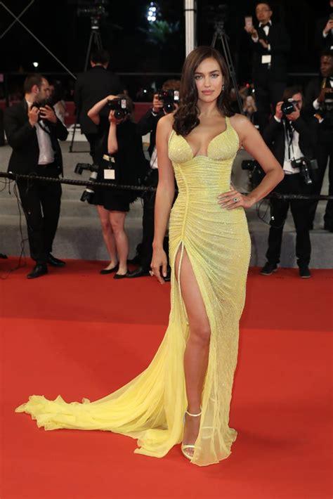shayk irina dress cannes yellow versace popsugar