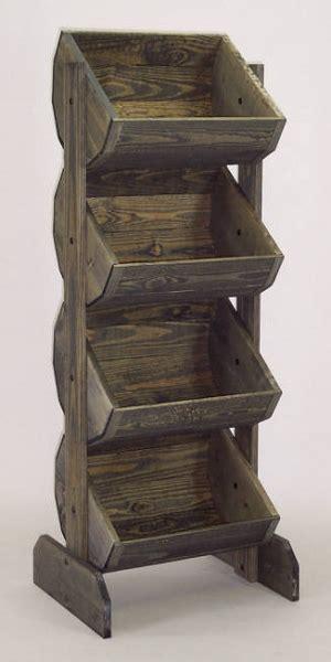 wooden barrel rack vegetable bin wood produce stand