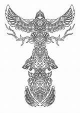 Totem Coloring Poles Animal Spirits Netart sketch template