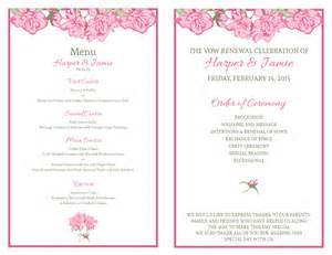 wedding programs diy templates free vow renewal invitation suite pink roses