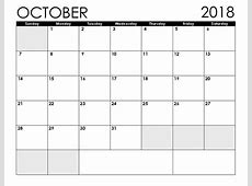 October 2018 Calendar Printable Blank Templates Free