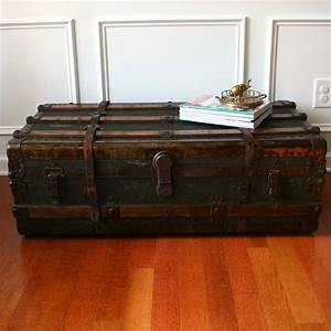 huge antique steamer trunk coffee table flat top canvas With trunk like coffee table