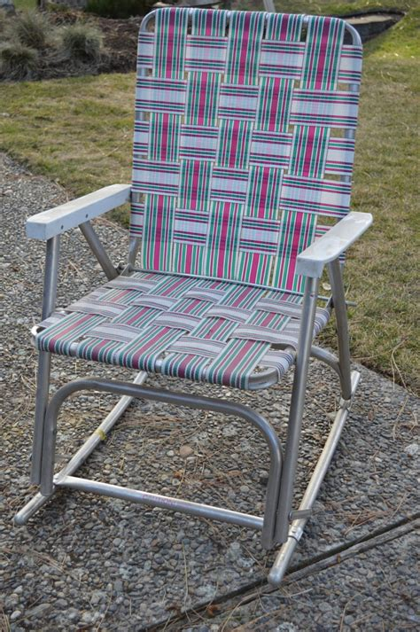 Vintage Webbed Lawn Chairs by Vintage Webbed Lawn Chair Aluminum Webbed Lawn Rocking