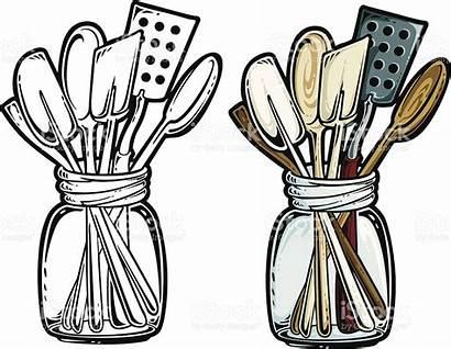 Kitchen Utensils Clipart Cooking Cartoon Tools Antique