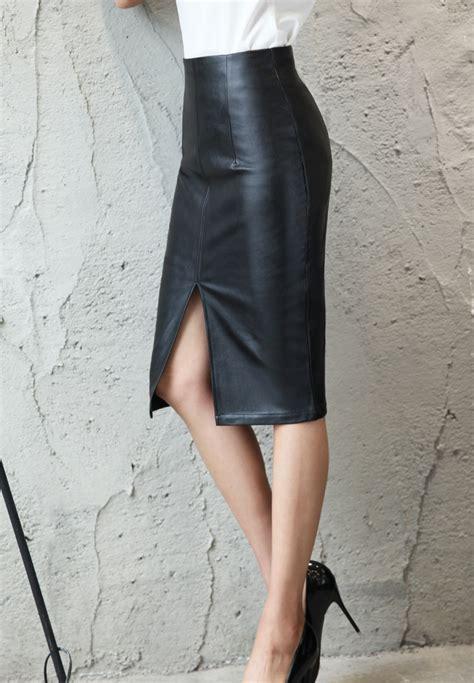 colorfaith  women pu leather midi skirt autumn winter