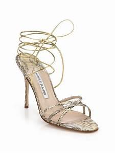 Lyst - Manolo Blahnik Leva Snakeskin Sandals in Natural