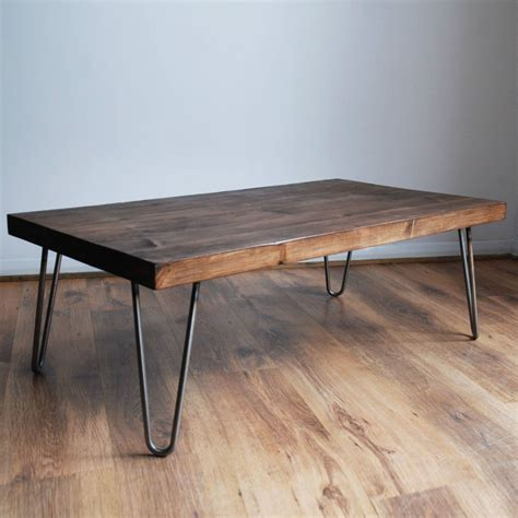 details about rustic vintage industrial solid wood coffee table bare metal hairpin legs in