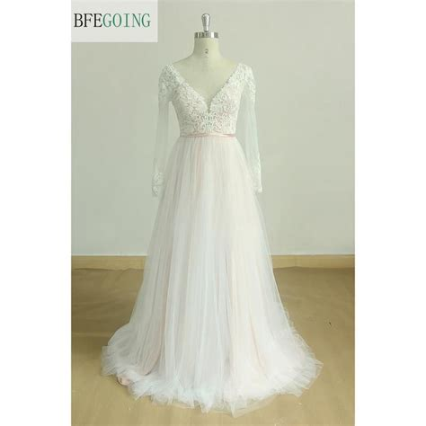 Ivory Tulle Lace Appliques V Neck A Line Wedding Dress