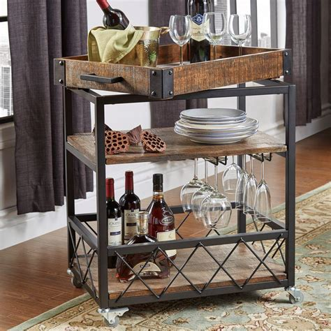 Bar Cart by Homesullivan Grove Place Distressed Cocoa Bar Cart With
