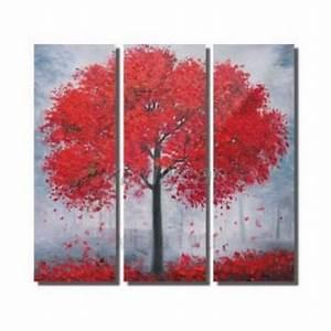 Tableau Triptyque Moderne : tableau moderne d 39 arbre rouge sur toile achat vente tableau deco pas cher ~ Teatrodelosmanantiales.com Idées de Décoration