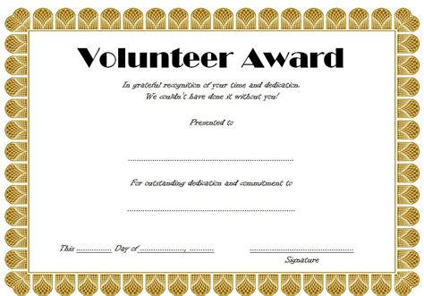 volunteer certificate template volunteer certificate templates best 10 templates
