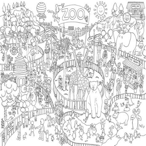 Coloring Zoo by Zoo Colouring In Poster By Really Posters