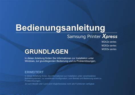Die kostenlosen samsung m267x 287x laser multifunktionsdrucker drivers funktionieren mit windows. Samsung M262X Treiber - •from the start menu, select ...