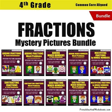 4th grade fraction mystery pictures coloring worksheets task cards printables worksheets