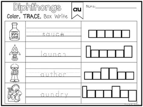 20 diphthongs color and writing worksheets kindergarten