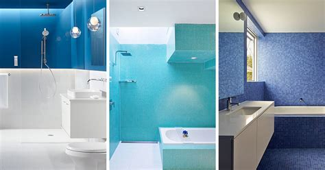inspirational examples  blue  white bathrooms