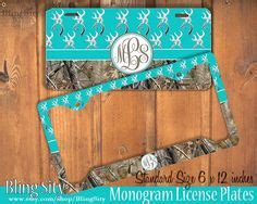 Teal Realtree Floor Mats by Aqua White Camo Antlers Monogram License Plate Frame