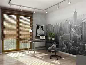 Papier Peint Bureau : design interieur deco chambre ado papier peint ny bureau ~ Melissatoandfro.com Idées de Décoration