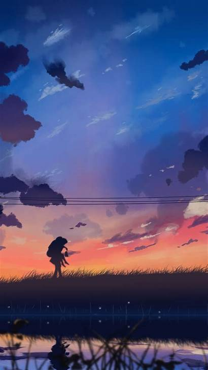 Anime Landscape Wallpapers Scenery Iphone Painting Clouds