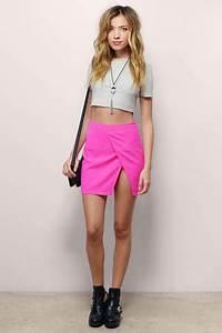 Cute Neon Pink Skirt Pink Skirt Slit Skirt $20 00