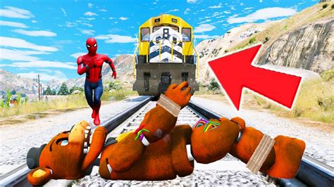 Withered Freddy & Spiderman Vs Train! (gta 5 Mods For Kids